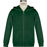 Green Full Zip Hooded Sweatshirt with School logo