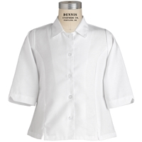 White Three Quarter Sleeve Blouse with School logo