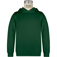 Green Pullover Hooded Sweatshirt with School Logo