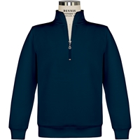 Navy Quarter Zip Pullover Sweatshirt with School logo