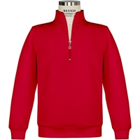 Red Quarter Zip Pullover Sweatshirt with School logo