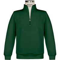 Green Quarter Zip Pullover Sweatshirt with School logo