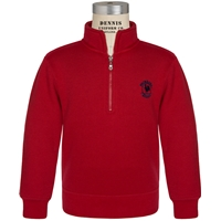 Red Quarter Zip Pullover Sweatshirt with Primrose logo