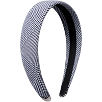 Navy/White Shadow Plaid Padded Headband