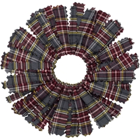 MM Plaid Pom Pom Scrunchy