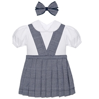 Navy & White Shadow Plaid Doll Outfit