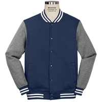 Navy and Heather Grey Letterman Jacket with School logo