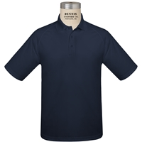 Navy Short Sleeve Performance Polo with School Logo