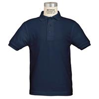 Navy Short Sleeve Performance Polo with School Logo