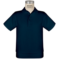 Navy Short Sleeve Banded Jersey Polo with School Logo