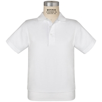 White Short Sleeve Banded Jersey Polo with School Logo