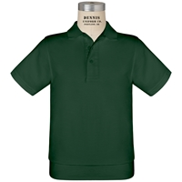Green Short Sleeve Banded Jersey Polo with School Logo
