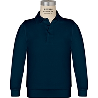 Navy Long Sleeve Banded Jersey Polo with School Logo