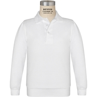 White Long Sleeve Banded Jersey Polo with School Logo