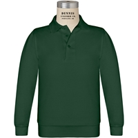 Green Long Sleeve Banded Jersey Polo with School Logo