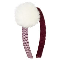Headband with Fur Pom Pom-Maroon and White Shadow plaid
