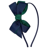 Dark Green/Navy Headband With Bow