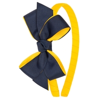 Gold/Navy Headband With Bow