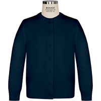 Navy Round Collar Cardigan with School logo