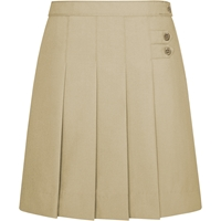 Pleated Tab Skooter-Khaki with School logo