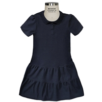 Ruffle Pique Dress -Navy with School logo