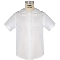 White Round Collar Short Sleeve Blouse with School logo