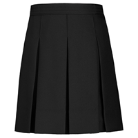 Black Gabardine Hipstitch Pleated Skirt
