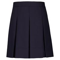 Navy Gabardine Hipstitch Pleated Skirt