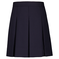 Navy Gabardine Hipstitch Pleated Skirt