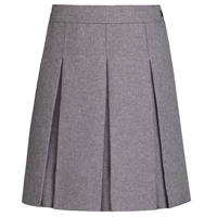 Heather Grey Gabardine Hipstitch Pleated Skirt