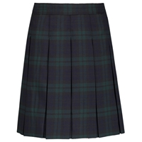Blackwatch Plaid Hip-Stitched Pleated Skirt with School Logo