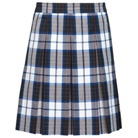 Adams Plaid Hip-Stitched Pleated Skirt