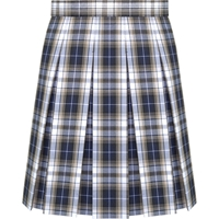 Langley Plaid Hip-Stitched Pleated Skirt