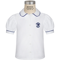 White Short Sleeve Blouse With Navy Piping with Primrose logo