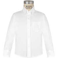 White Tall Oxford Cloth Shirt 35 Inch Sleeve with School logo