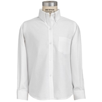 White Tall Oxford Cloth Shirt 37 Inch Sleeve with School logo