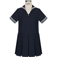 Navy Dress With White Trim with School Logo