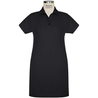 Black Pique A-Line Polo Dress